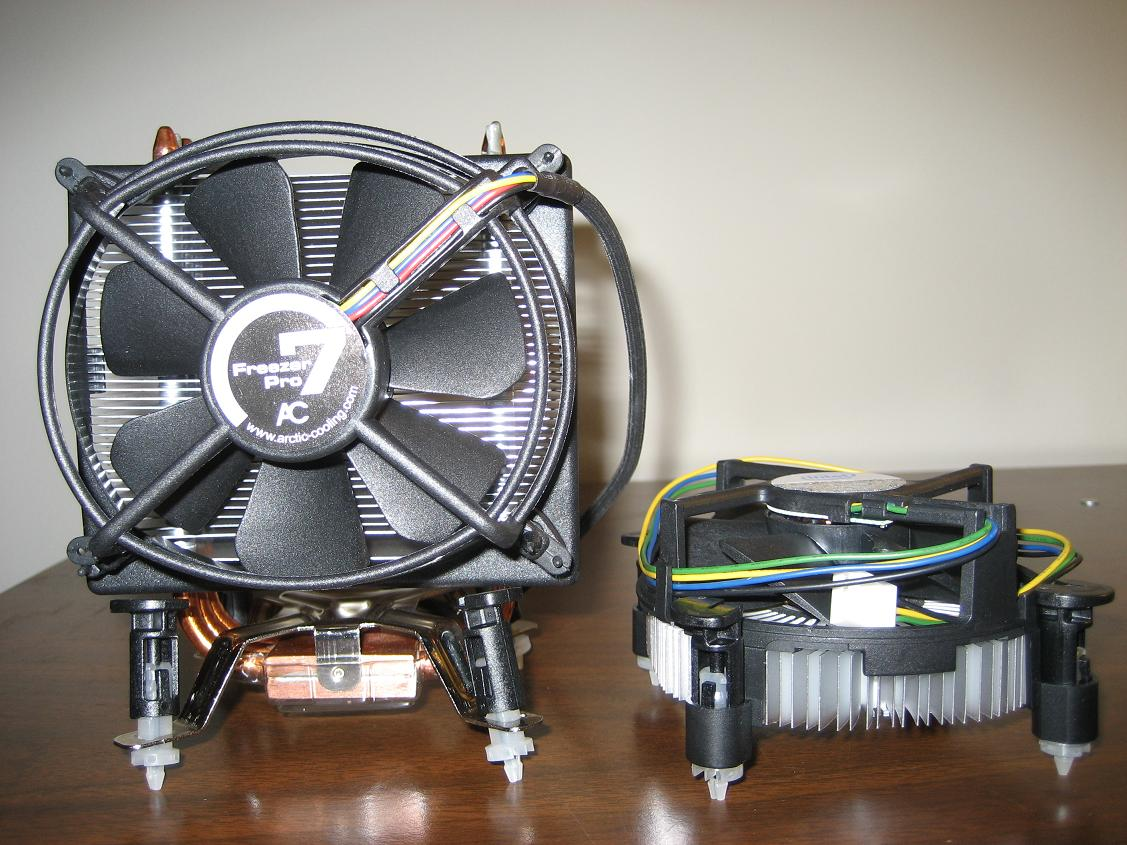 Stock Heat Sink and Arctic Cooling Freezer 7 Pro