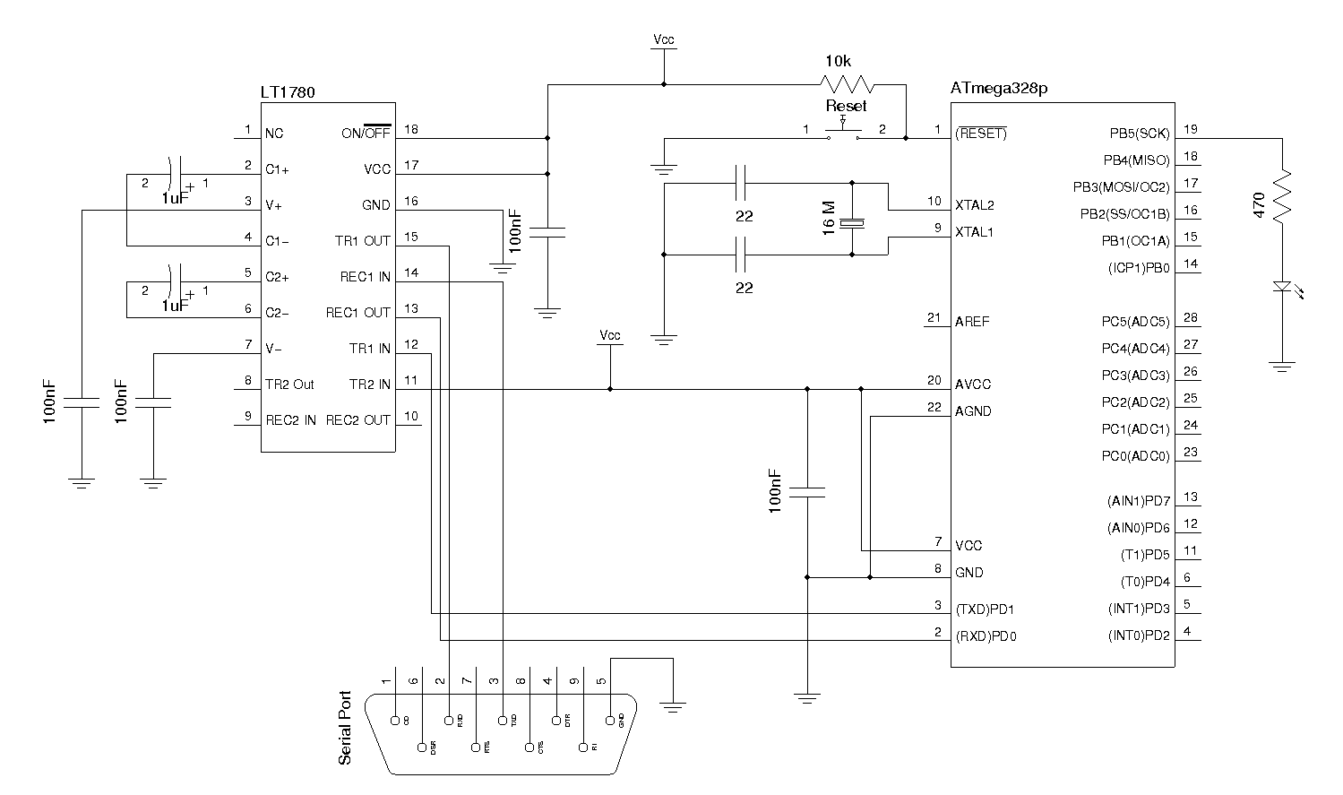 Kerry D Wong Blog Archive Arduino Serial Using Lt1780 Max232 Pin Diagram