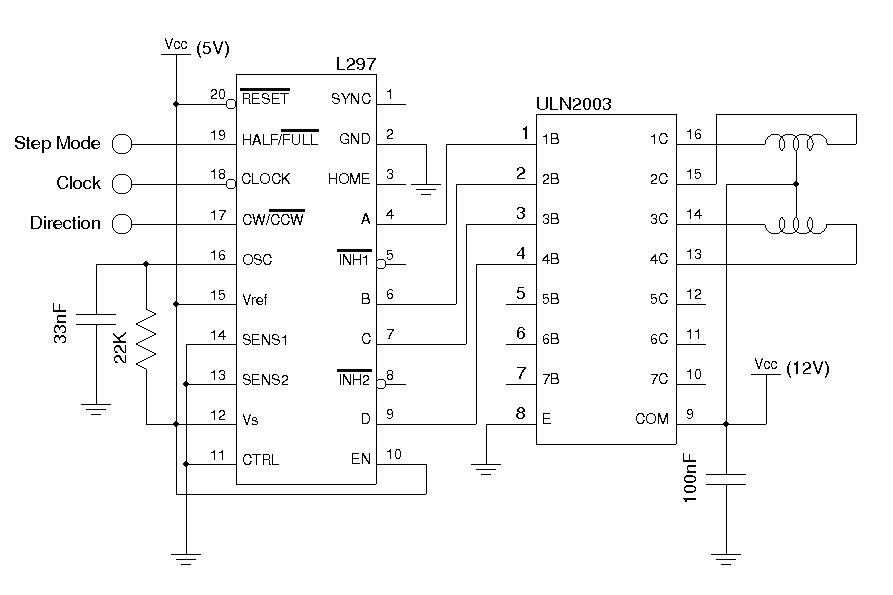 Stepper motor controller circuit unipolar sosggett Step motor driver circuit