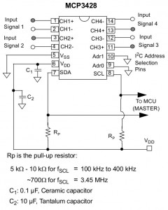 MCP3428 Reference Circuit (Courtesy  http://ww1.microchip.com/downloads/en/ DeviceDoc/22226a.pdf))